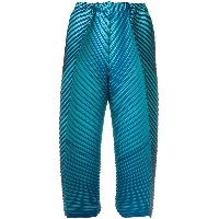 Issey Miyake pleated cropped trousers - ブルー