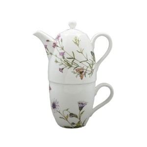 Gracie中国バタフライ3ピースPorcelain Tea for Oneセット、9-ounceティーポットStacked