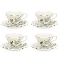 Gracie中国バタフライ磁器7-ounce Tea Cup and Saucer Set of 4