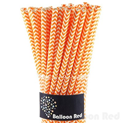 (100, Orange Chevron) - Biodegradable Paper Straws (Premium Quality), Pack of 100, Orange Chervon