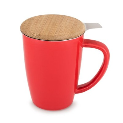 (Red) - Pinky Up 5035.0 Bailey Ceramic Tea Mug & Infuser Cups Saucers, Red