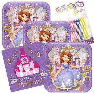 Disney Sofia the First Party Plates and Napkins serves 16 with誕生日キャンドル