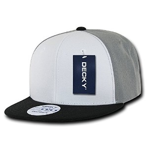 Decky 355-GRYBLK Three Tone Flat Bill Snapbacks, Grey & Black