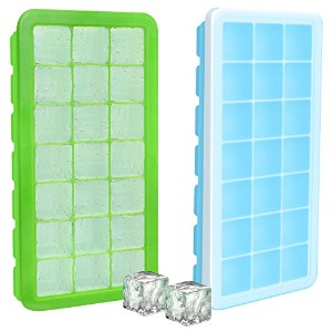 Food Grade Silicon Ice Cube Tray Set - Set of 2 - 42 Ice Cube Moulds - By Utopia Home