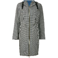 Herno hooded check coat - ホワイト