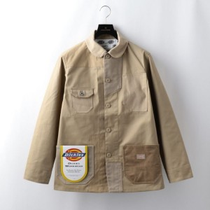 【GUILD PRIME ギルドプライム】 【FDMTL】MENS DICKIES PATCHWORK COVERALL FA18/JK12D ベージュ メンズ
