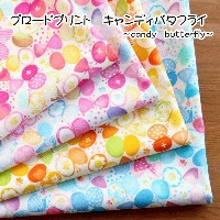 【50cm単位】 ブロードプリント キャンディバタフライ~candy butterfly~ [M便 1/4]