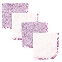 Hudson Baby Print Woven Washcloth, Purple and White, 4 Count by Hudson Baby