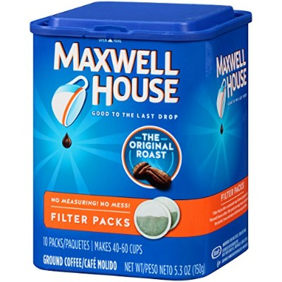 Maxwell House Original Roast Ground Coffee, 10-Count Filter Packs (Pack of 4) by Maxwell House