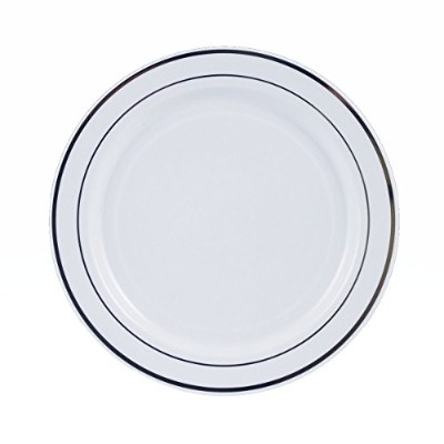 Maryland Plastics 12 Count Regal White Plate with Sliver Trim, 7-1/2, White/Silver by Maryland...