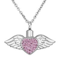 q &ロケットピンクAngel Wings Urn Necklaces For灰