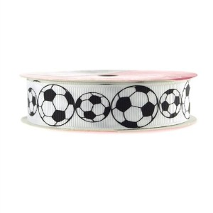 Soccer Ball White Grosgrain Ribbon, 7/8-inch, 5-yard by Firefly Imports