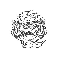 Angry Tiger、pre-inkedイメージゴム製スタンプ( # 430115 ) Stamp size (30x30mm) レッド