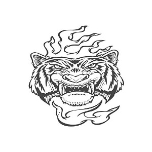 Angry Tiger、pre-inkedイメージゴム製スタンプ( # 430115) Stamp size (30x30mm) レッド