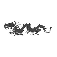 Chinese Dragon、pre-inkedイメージゴム製スタンプ( # 431102 ) Stamp size (58x18mm) グリーン