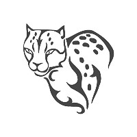 Leopard、pre-inkedイメージゴム製スタンプ( # 430166 ) Stamp size (30x30mm) ブラック