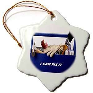 3dローズFloreneユーモア – ツールボックスwith I can fix it Spelled Out – Ornaments 3 inch Snowflake Porcelain...