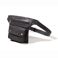 (バーディヤ ウエストバッグ) Badiya Couples Multifunction Black PU Leather Waist Packs with Cell Phone Pouch