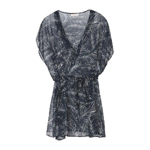 レディース MICHAEL MICHAEL KORS ABSTRACT PALM BELTED V-NECK CAFTAN ビーチドレス ダークブルー
