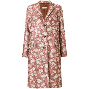 Alberto Biani floral jacquard single-breasted coat - レッド