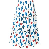 P.A.R.O.S.H. cactus print tiered long skirt - ホワイト