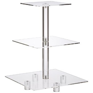 YestBuy 3 Tiers Square Party Wedding Birthday Clear Tree Tower Acrylic Cupcake Stand 3 tier square...