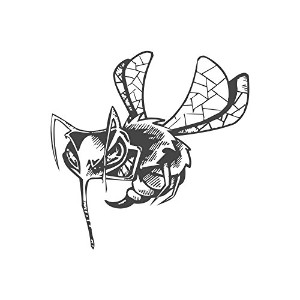 Angry Bee、pre-inkedイメージゴム製スタンプ( # 430134) Stamp size (30x30mm) レッド