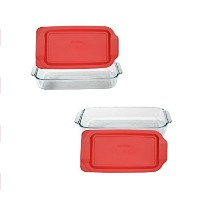 Pyrex Basics QuartガラスOblong Baking Dish 2PK-3QT レッド COMINHKG117579