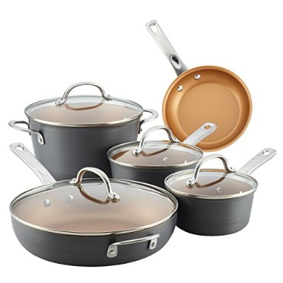 (9-Piece) - Ayesha Curry Home Collection Hard Anodized Aluminium Cookware Set, 9-Piece