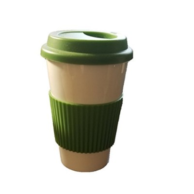 Eco Cup w/Silicone Lid & Sleeve Coffee Tea i am not a paper cup look-a-like white porcelain travel...