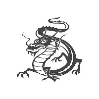 Chinese Dragon、pre-inkedイメージゴム製スタンプ( # 430211) Stamp size (30x30mm) パープル