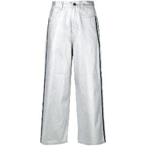 Mademe flared cropped trousers - メタリック