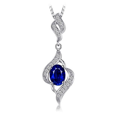 JewelryPalace 1.95ct 人工 ブルー サファイア ペンダント ネックレス スターリング シルバー925