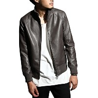 (br5050) DS∴LEATHER JACKET (リブ13ブラウン L)