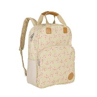 Lassig Vintage Style Diaper Backpack Bag includes Matching Insulated Bottle Holder, wipeable...