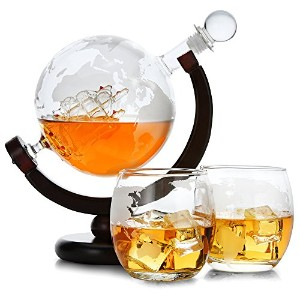 Whiskey Decanter Set Globe with Ship–ワインデカンタセット–Scotch Decanter