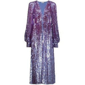 Attico long sleeve sequin embellished robe - ピンク&パープル