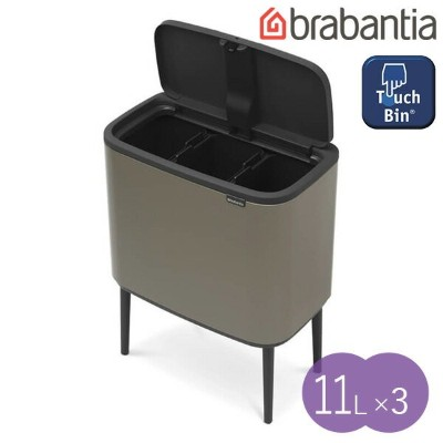 【brabantia】 ブラバンシア BO タッチビン 11L×3 [プラチナ] Bo Touch Bin, with 3 Inner Bucket, 11L×3 litre - Platinum ...