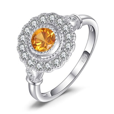 JewelryPalace レトロ 1.1ct 人工 サファイア ハロー リング スターリング シルバー925
