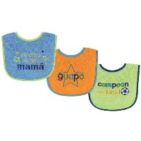 Luvable Friends Spanish Bibs, Blue, 3-Count by Luvable Friends
