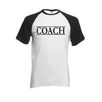 Coach Trainer Sport Funny Novelty Black/White Men Women Unisex Short Sleeve Baseball T Shirt-L