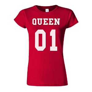 King Or Queen His And Hers Couple Valentines Novelty Cherry Red Women T Shirt Top-S