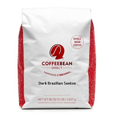 Dark Brazilian Santos, Whole Bean Coffee, 5 Pound Bag by Coffee Bean Direct