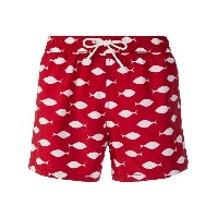 Entre Amis print fitted swim shorts - レッド