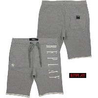 REPLAY/リプレイM9614 COTTON BERMUDA SHORTS WITH REPLAY PRINTハーフスウェットパンツ/スウェットショーツ MEDIUM GREY MELANGE...