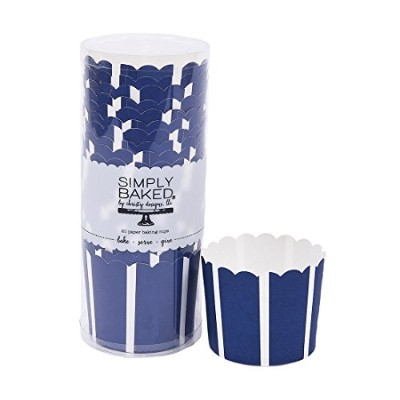 Simply Baked Large Paper Baking Cup, Navy with White Stripe, 20-Pack, Entertain with Ease and Style...