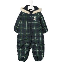 Miki House checked padded snowsuit - グリーン