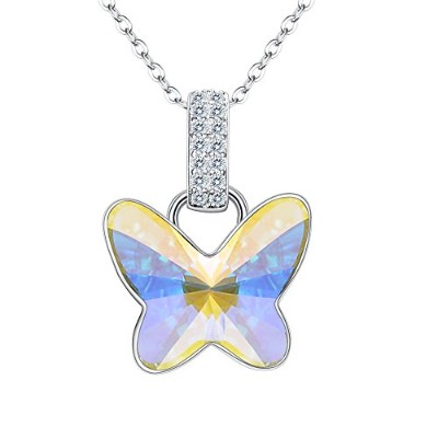fanze 925スターリングシルバーCZ Dancing Butterfly DelicateブライダルペンダントネックレスMade with Swarovski Crystal