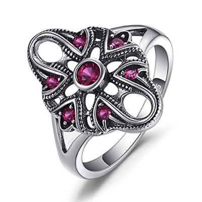 jewelrypalaceヴィンテージ誇張0.3 CT Created Rubyリング925スターリングシルバー