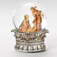 "6 "" Fontanini Musical Holy FamilyクリスマスNativity Snow Globe Glitterdome"